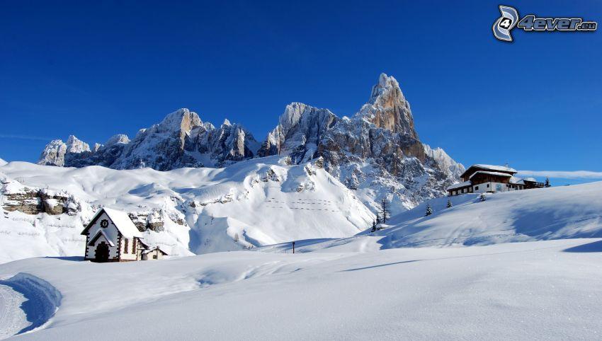 Dolomiti, montagne rocciose, neve