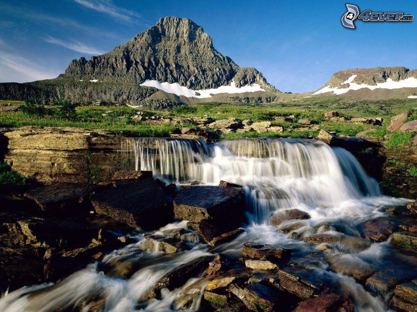 Glacier National Park, montagna, ruscello, cascata