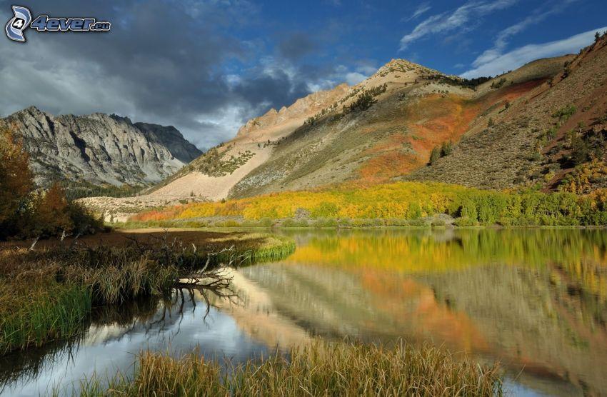 lago, colline, collina rocciosa