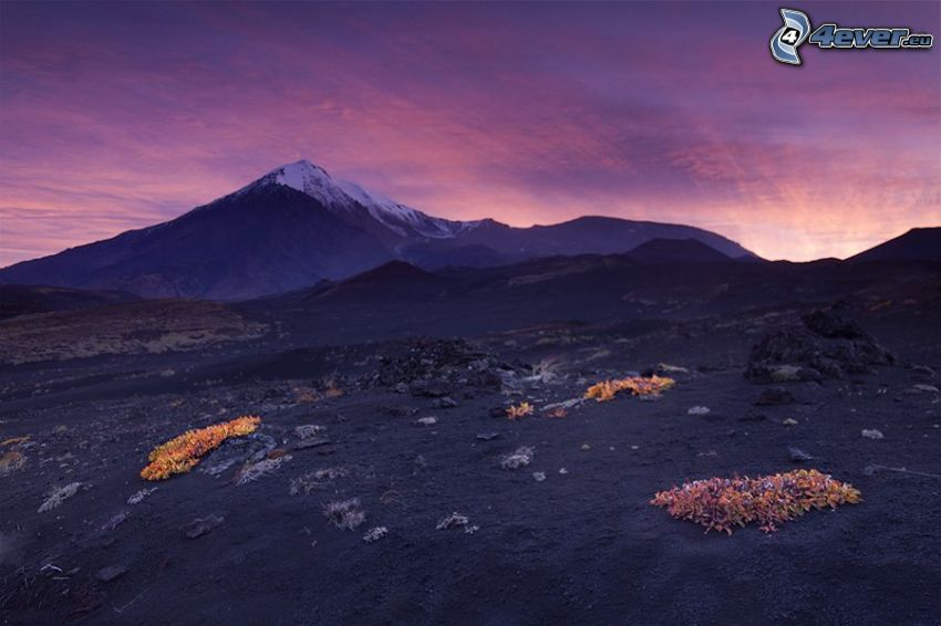 montagna innevata, cielo viola, sera
