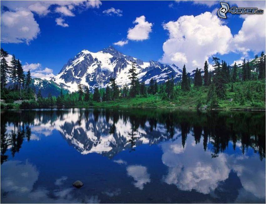 montagna nevosa sopra il lago, lago di montagna, foresta, alberi di conifere