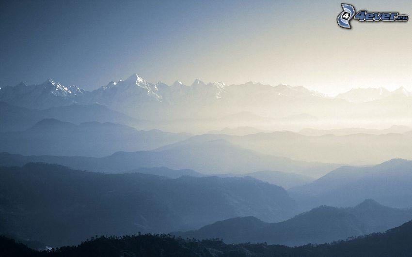 montagne, nebbia