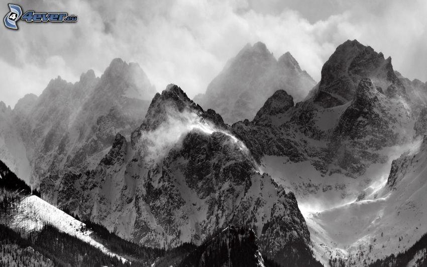 montagne innevate, nuvole, bianco e nero