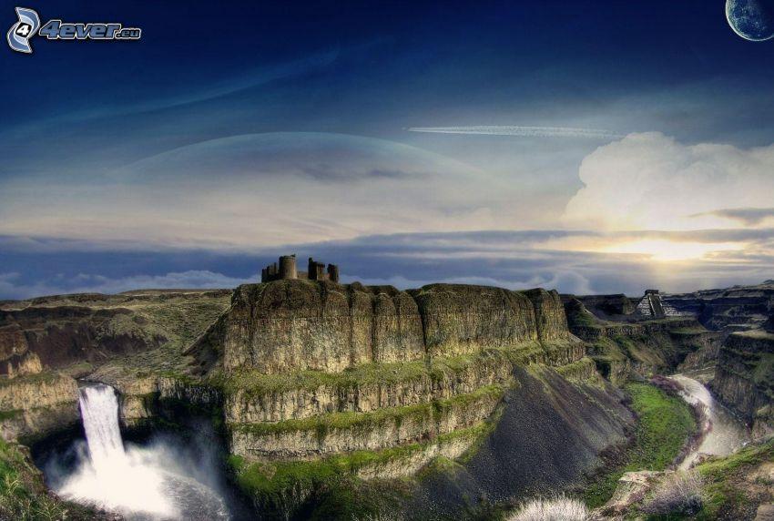 montagne rocciose, castello, cascata, pianeta, HDR