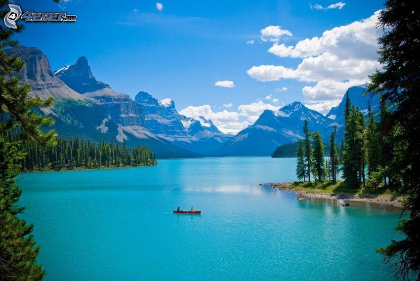 Moraine Lake, lago azzurro, montagne rocciose, imbarcazione