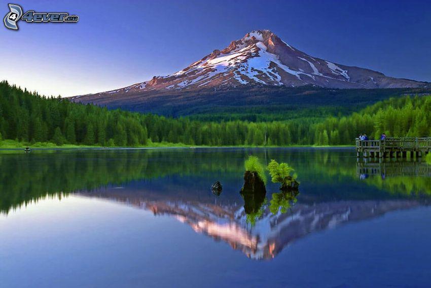 Mount Hood, montagna innevata, foresta, lago