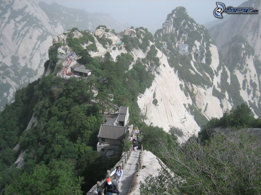 Mount Huang, montagne rocciose, marciapiede, turisti