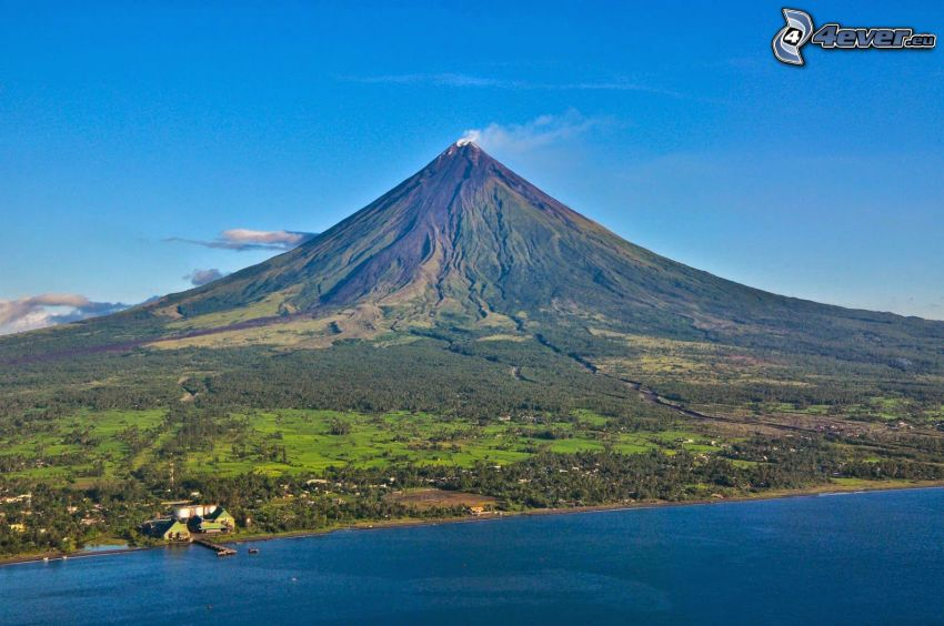 Mount Mayon, mare, costa, Filippine