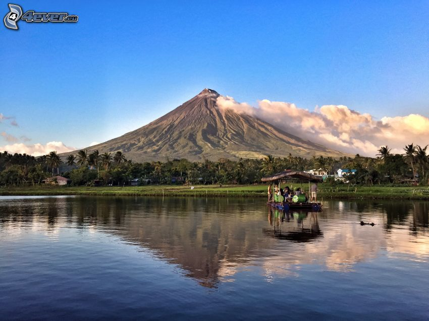 Mount Mayon, zattera, mare, foresta, Filippine