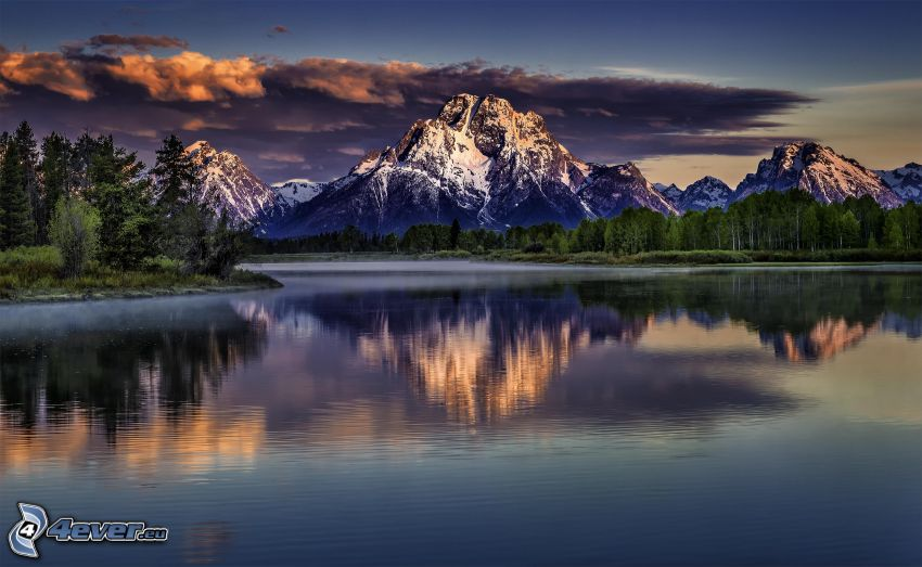 Mount Moran, Wyoming, lago, riflessione, bosco di conifere, HDR