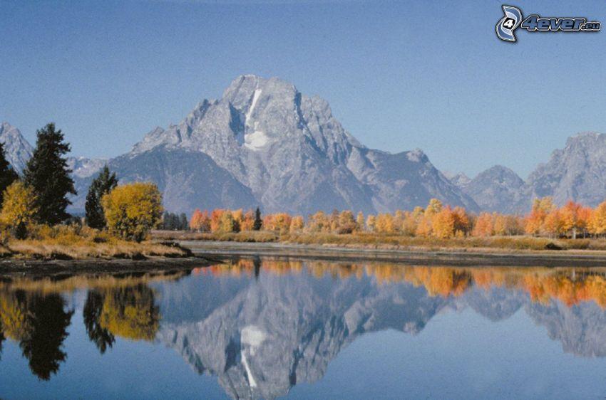 Mount Moran, Wyoming, lago, riflessione, bosco di conifere, montagna rocciosa