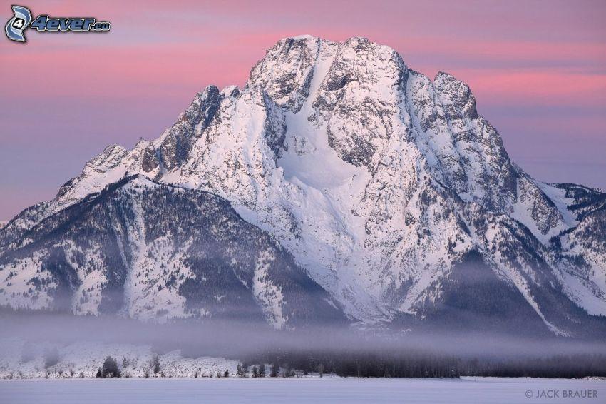 Mount Moran, Wyoming, montagna innevata