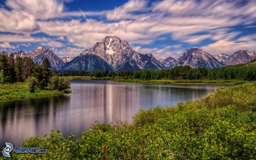 Mount Moran, Wyoming, montagne rocciose, lago, foresta, HDR