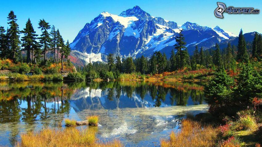 Mount Shuksan, montagna rocciosa, bosco di conifere, lago, riflessione