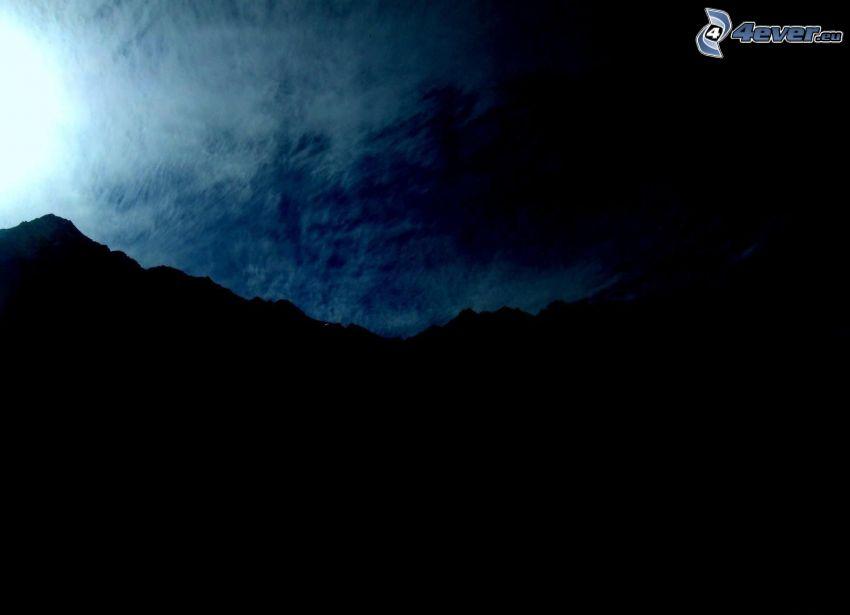 siluetta di orizzonte, montagna