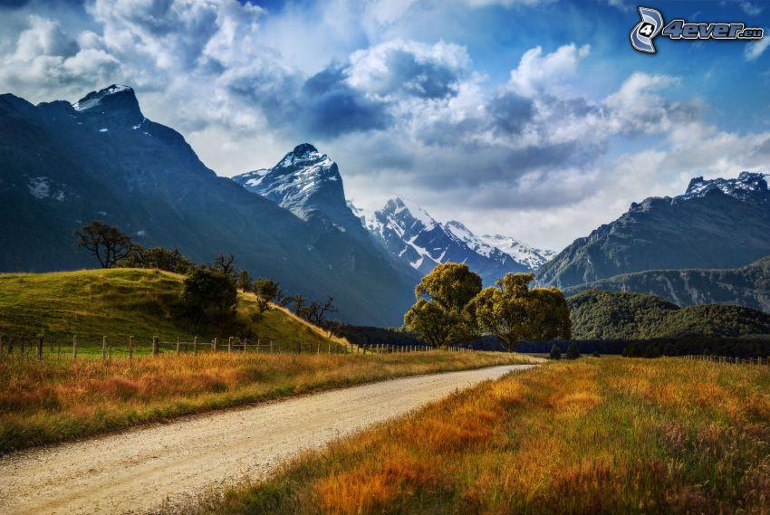strada, colline rocciose, neve