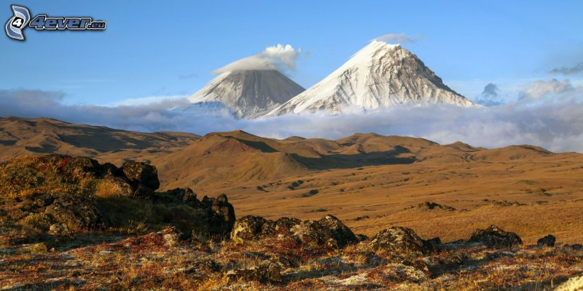 Volcano Kronockaja, montagne rocciose, valli