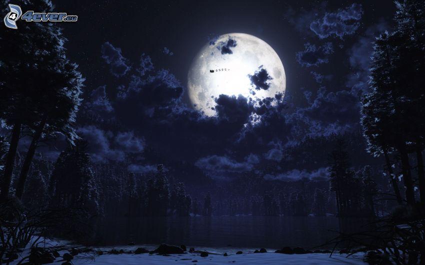 notte, luna, nuvole