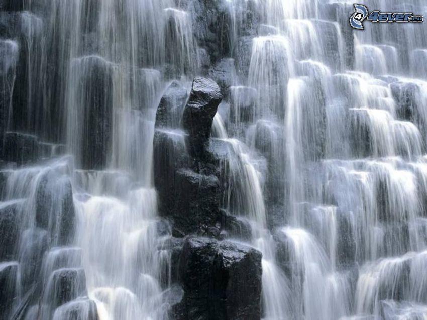 cascata, rocce, acqua