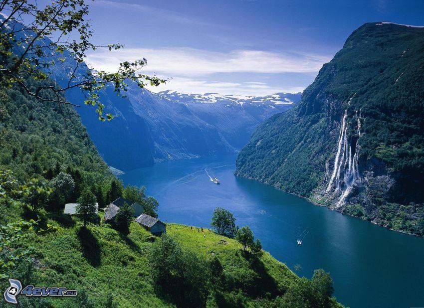 fiordo, Norvegia, montagne, chalets