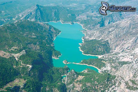 lago, acqua verde, Turchia, vista aerea