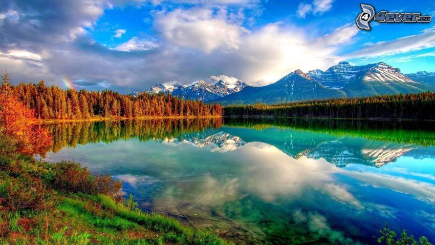 lago di montagna, montagne innevate, foresta