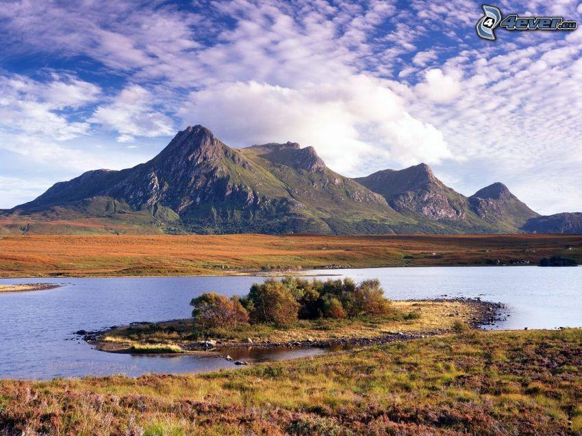 montagne, lago, cielo, nuvole