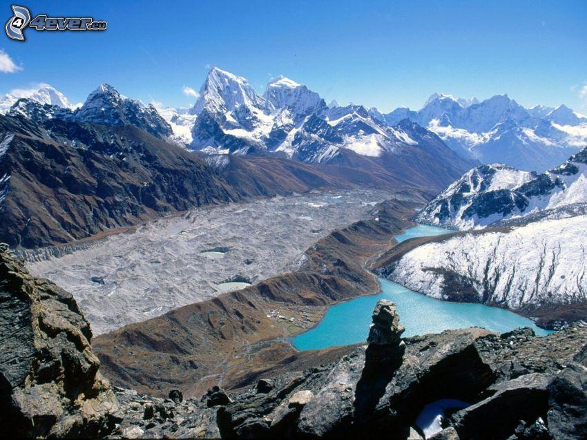 montagne innevate, lago, Nepal