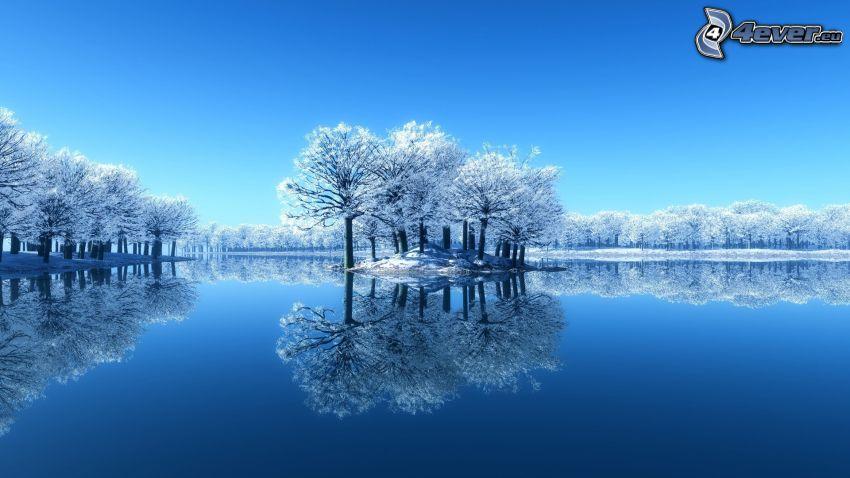 paesaggio innevato, lago, isola, sfondo blu