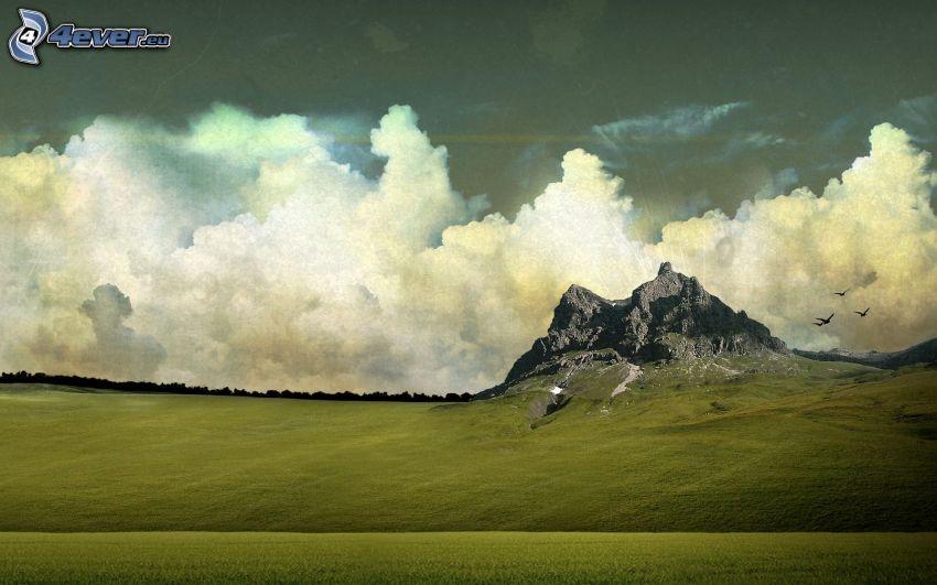 roccia, nuvole, prato