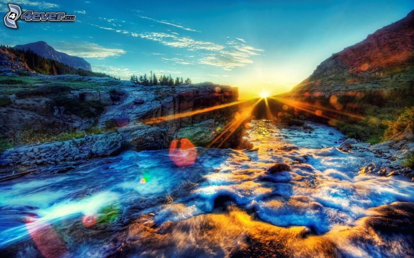 ruscello alpino, tramonto, HDR