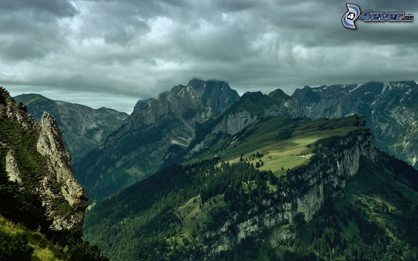 scogliera, montagne, nuvole