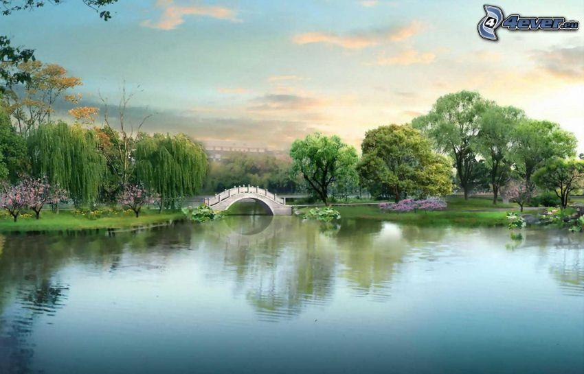 parco, laghetto, ponte, alberi, alberi in fiore