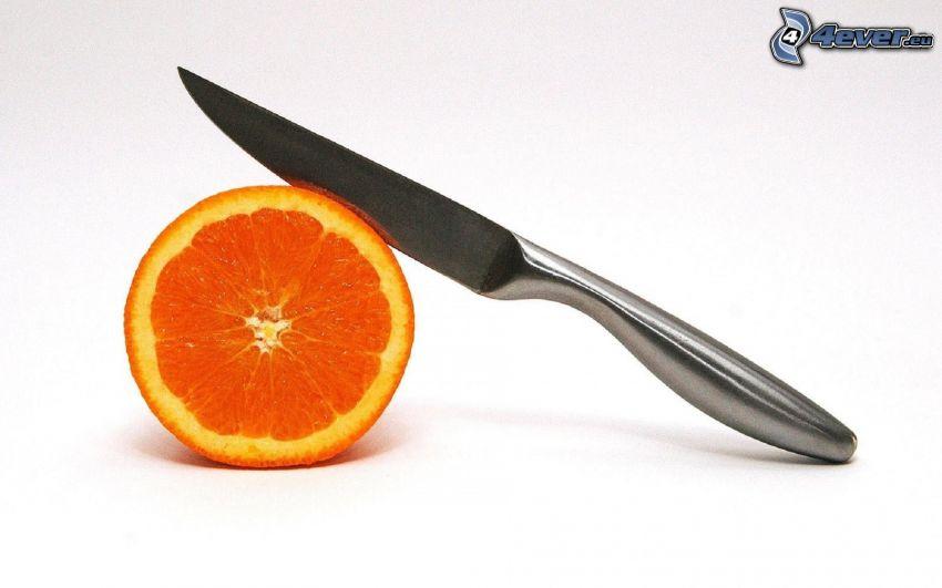arancia, coltello