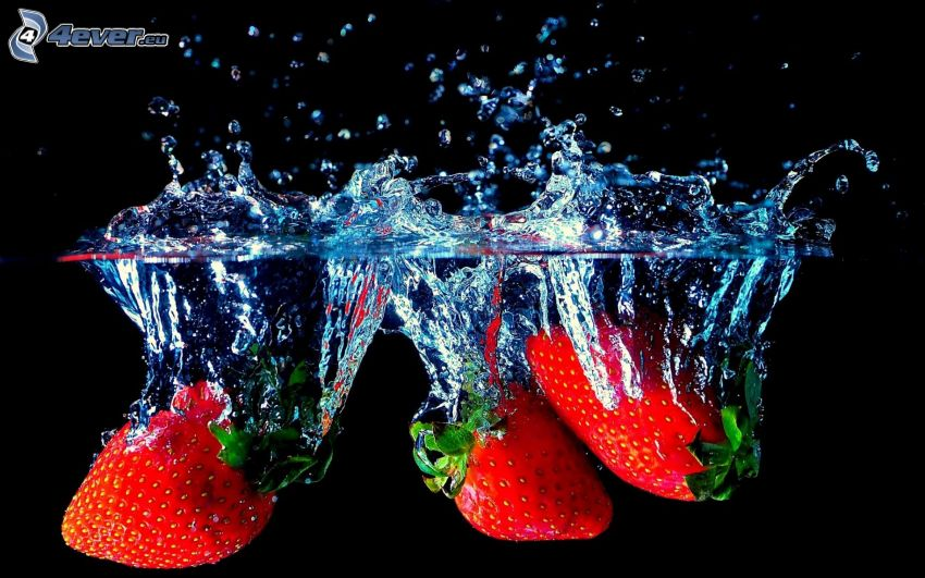 fragole, acqua, splash