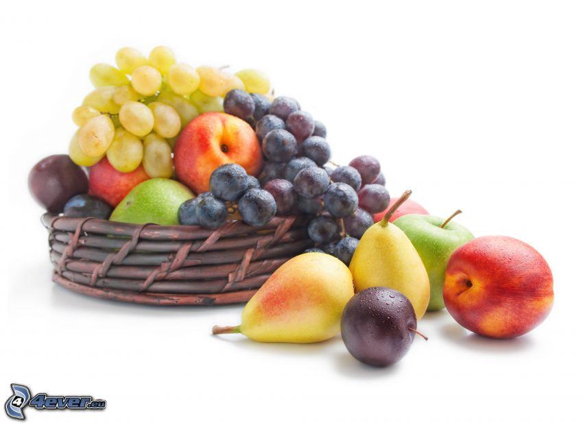 frutta, pere, uva, mele