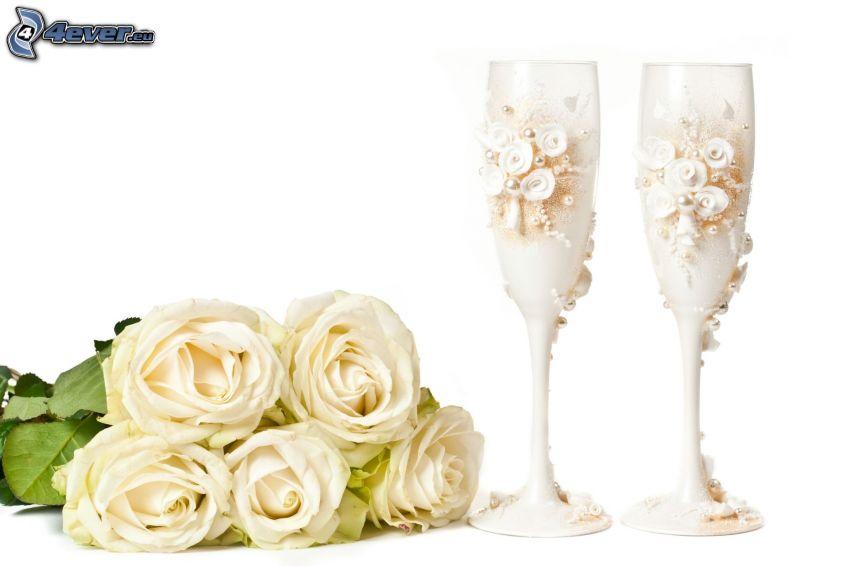 rose bianche, bicchieri
