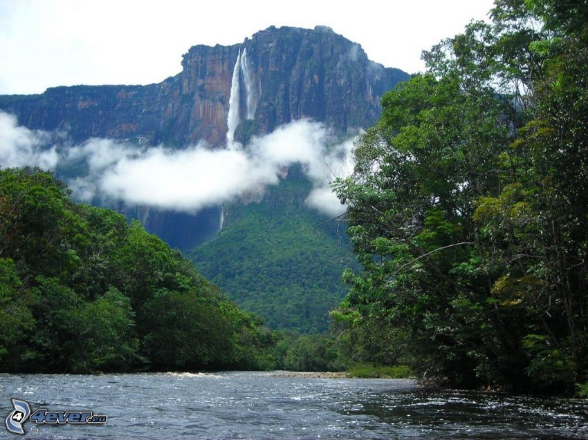 Salto Ángel, il fiume, foresta, nuvole, Venezuela
