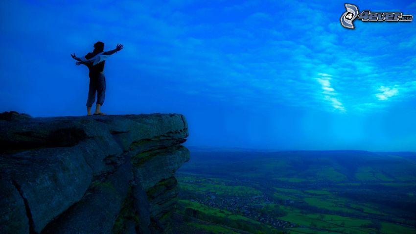 scogliera, libertà, cielo blu