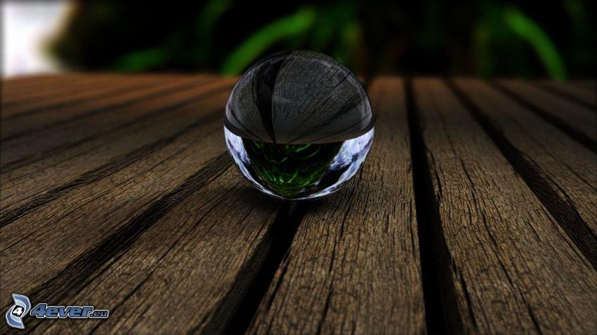 sfera di vetro, legno