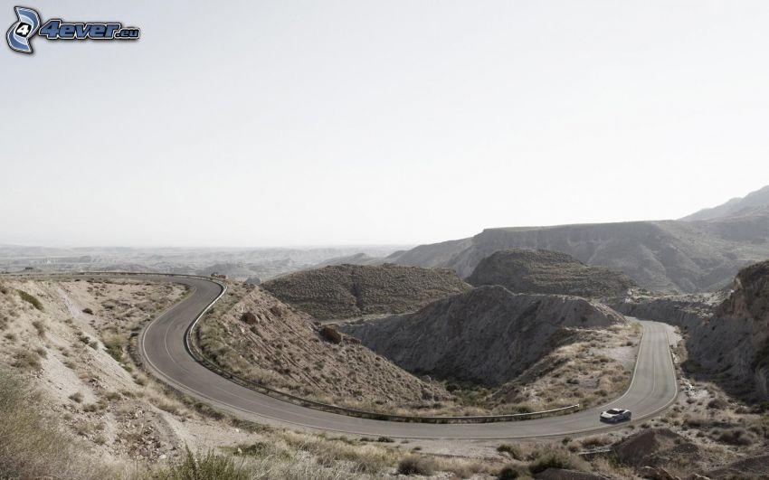 strada, curva, auto, colline