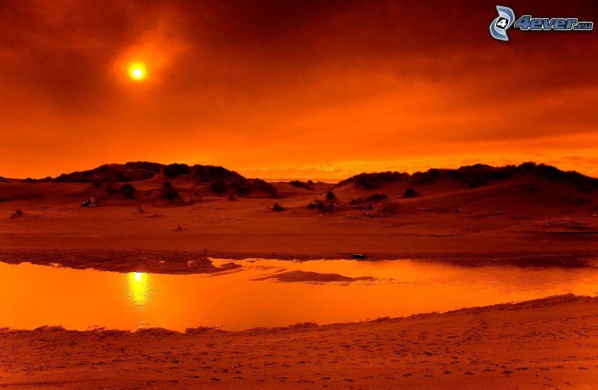 tramonto arancio, acqua, sabbia