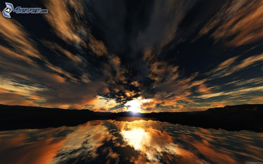 tramonto sopra il lago, nuvole, riflessione, montagna