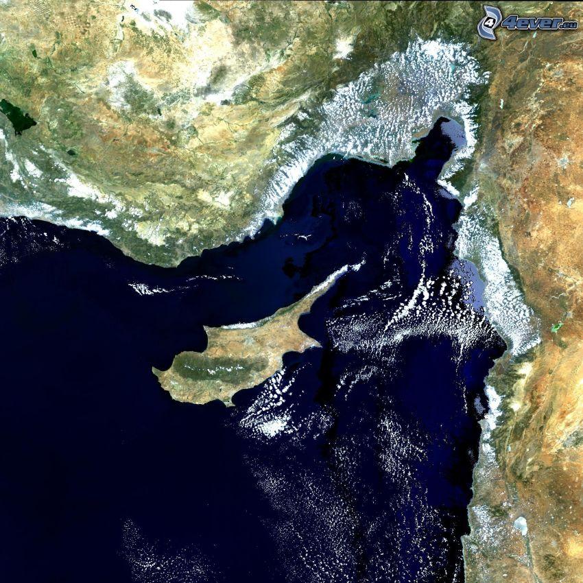 Cipro, mar Mediterraneo, immagini satellitari