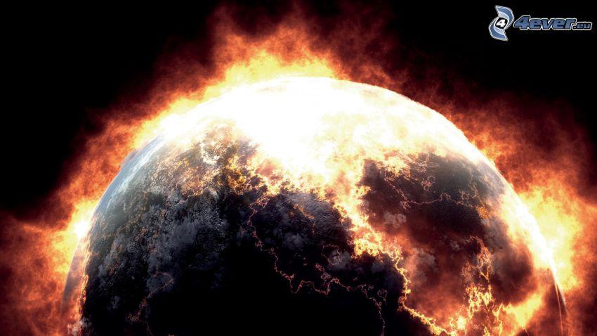 esplosione nello spazio, pianeta