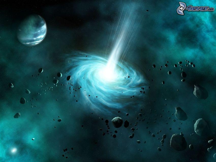 galassia, asteroide, pianeta