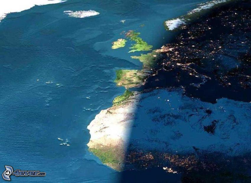 giorno e notte, Europa, Africa, immagini satellitari, Oceano Atlantico