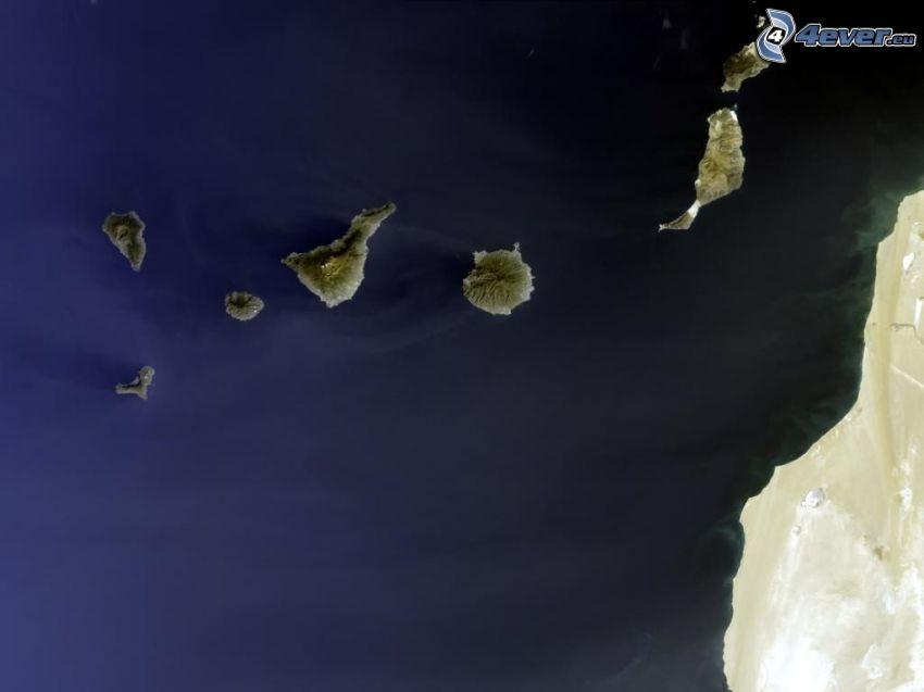 Isole Canarie, Oceano Atlantico, Sahara, immagini satellitari