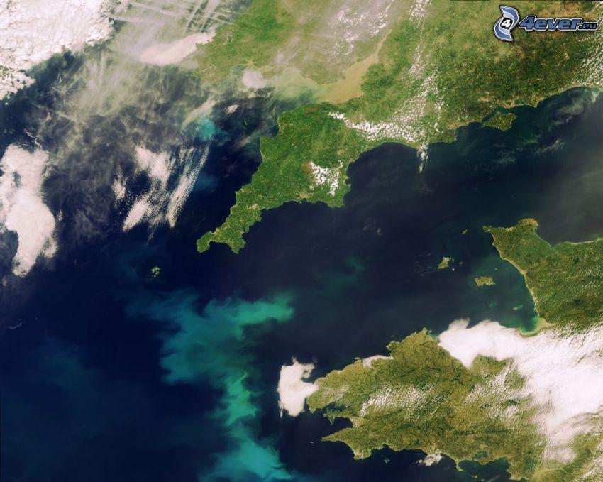 La Manica, immagini satellitari, Inghilterra, Francia