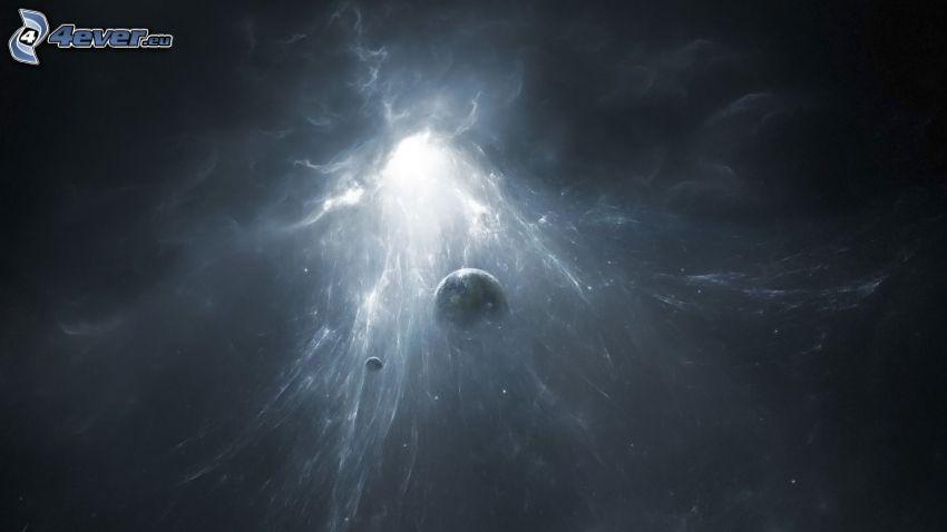 luce di universo, pianeti